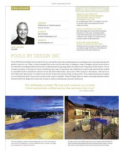 A scan of the article where Pools by Design is a featured pool builder in Luxe