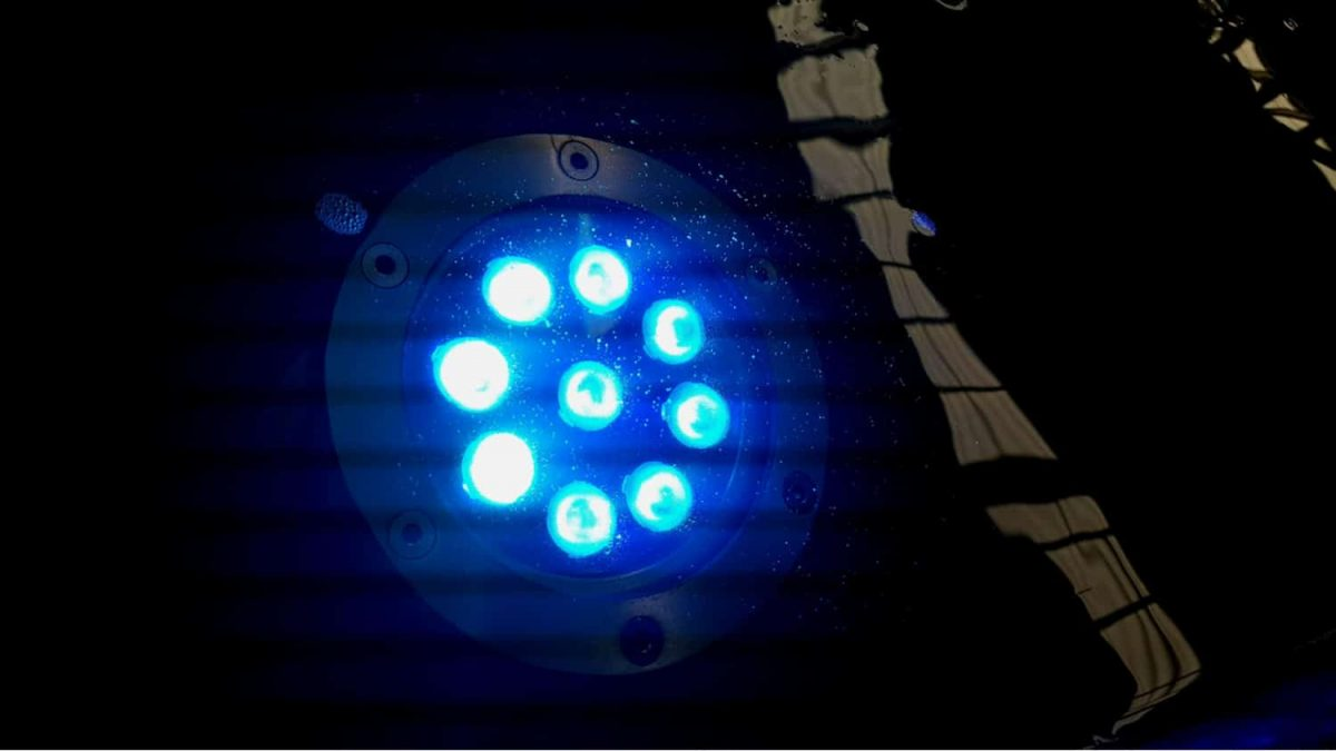 Blue LED pool lights underwater