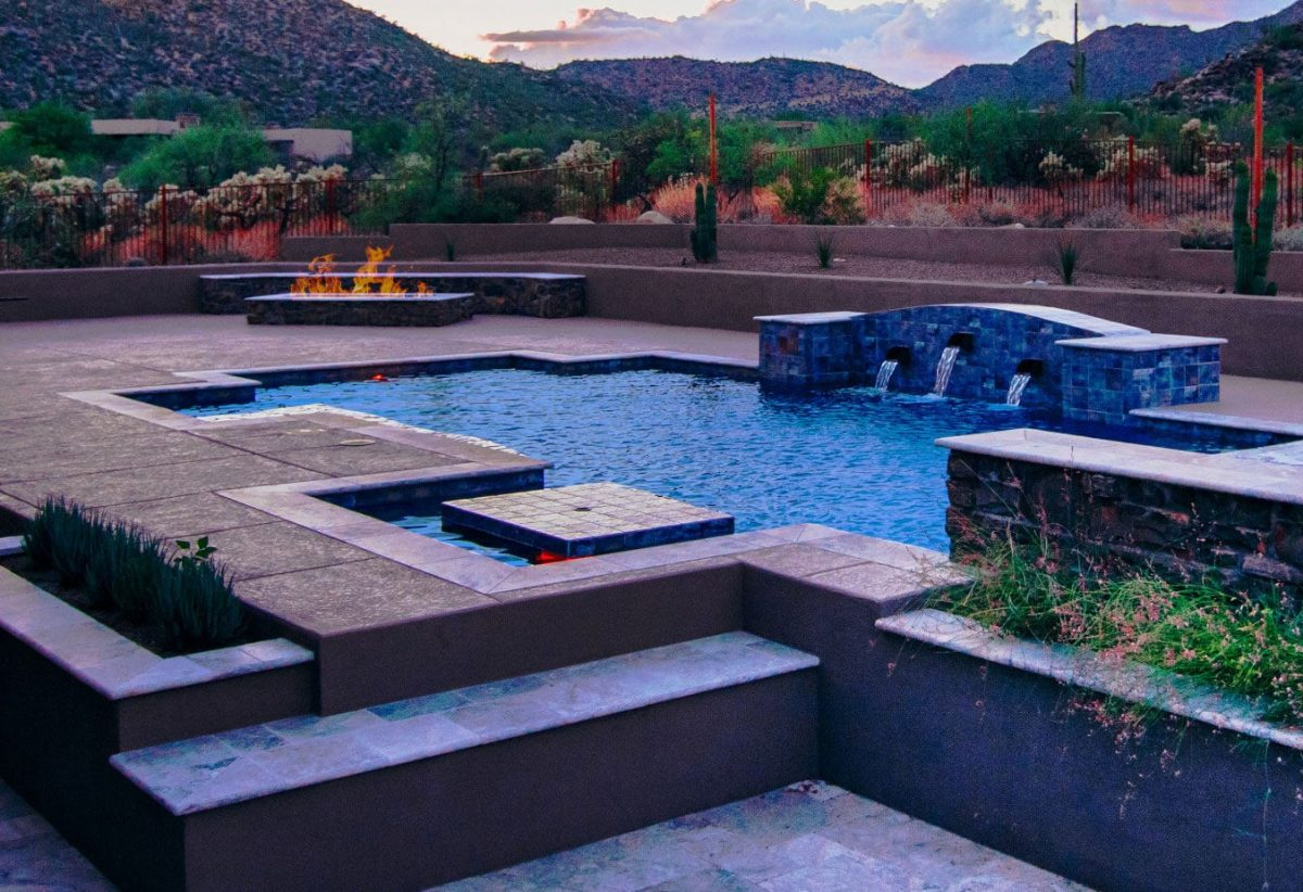 A backyard pool built by Pools by Design