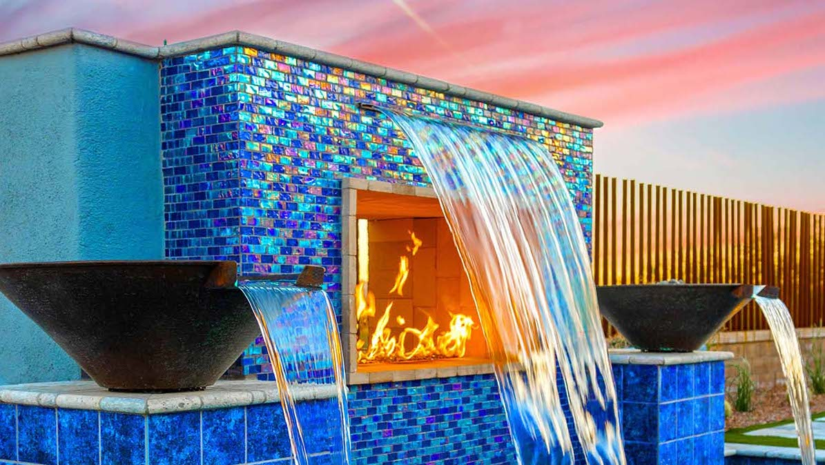 A fire wall with a fountain, one of many possible high-end pool ideas