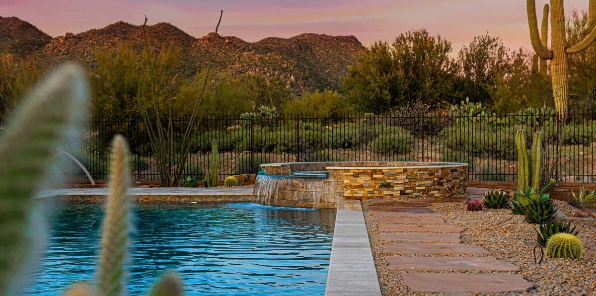 A custom inground spa built by our Tucson master pool builders