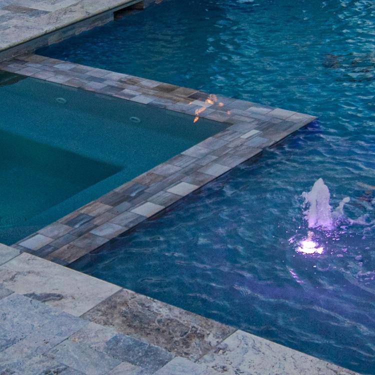 A pool-level modern hot tub design